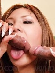 Miku Kohinata licks dongs and has mouth and hot box drilled a lot