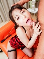 Ayumi Iwasa with hands tied is aroused big time on crotchless