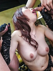 Yui Misaki Asian has crack filled with vibrators, cocks and sperm