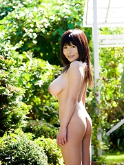 Yui Serizawa posing her large natural tits outdoors