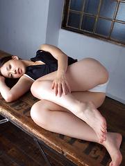 Shizuka Asian with sexy legs and hot boobs takes pics at window