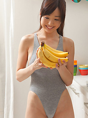 Mio Ayame Asian with hot bum plays with lingerie and with pincers