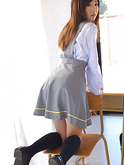 Mio Ayame Asian smiles and shows ass in panty under uniform