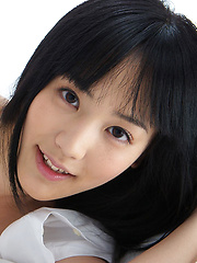Yuri Hamada Asian takes school uniform off and shows big assets