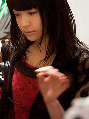 Yuuri Shiina Asian in corset and fishnets loves changing clothes