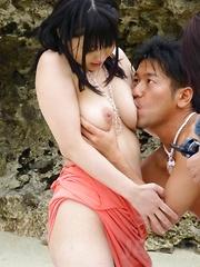 Megumi Haruka with hot butt sucks dicks and has pussy fucked