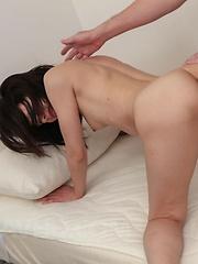 Rikako Asian gets hard and sucked boner between hairy labia