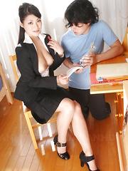 Teen cock and cum get deep inside Ryo Sasaki.