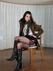 Sayuri Shiraishi posing and spreading legs.