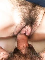 Mao Miyazaki Asian gets cock and vibrator on and in hairy pussy