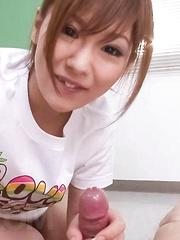 Miku Airi Asian in t-shirt sucks and licks cock till gets sperm