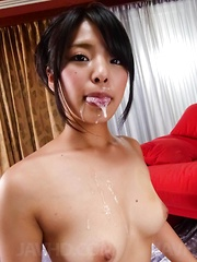 Eririka Katagiri Asian teases slit with vibrator while sucks dick