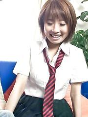 Japanese schoolgirl Yui Misaki and her big tits fucked