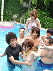 Japanese girl naked in the pool