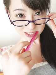 Rina Akiyama Asian with specs changes colorful clothes all day