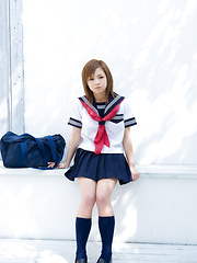 Runa Hamakawa Asian plays with her uniform skirt after classes