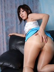 Kaede Oshiro Asian with specs and hot ass rubs twat with thong