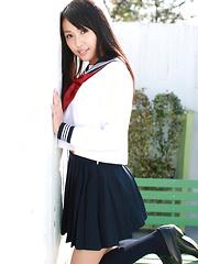 Miyu Watanabe Asian in school uniform loves rubbing cunt of ball