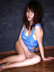 Mai Nishida Asian has big jugs and firm butt in blue lingerie