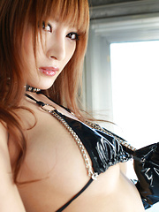 Kirara Asuka Asian in kinky outfit puts vibrator on her big boobs